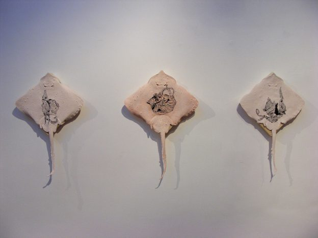 Whittled rays (detail), 2009. Ink on latex stretched over wood.