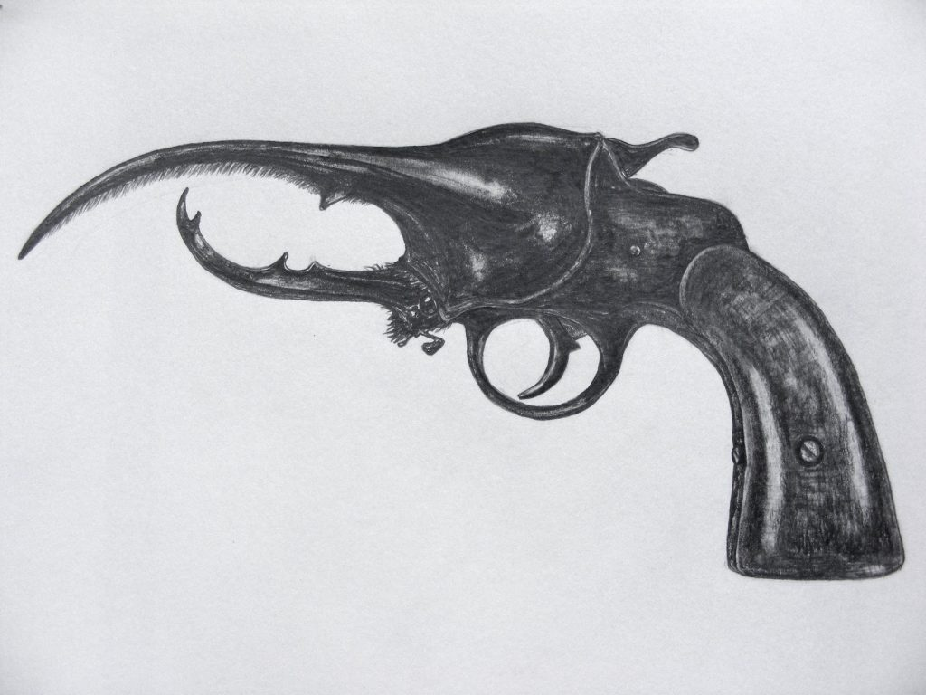 Hercules Pistol, 2011. Graphite on cartridge paper. 21x29cm's.