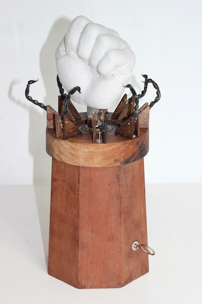Whittle Box, 2013. Wood, plaster, metal and scorpion tails. 28x18x18cm's.