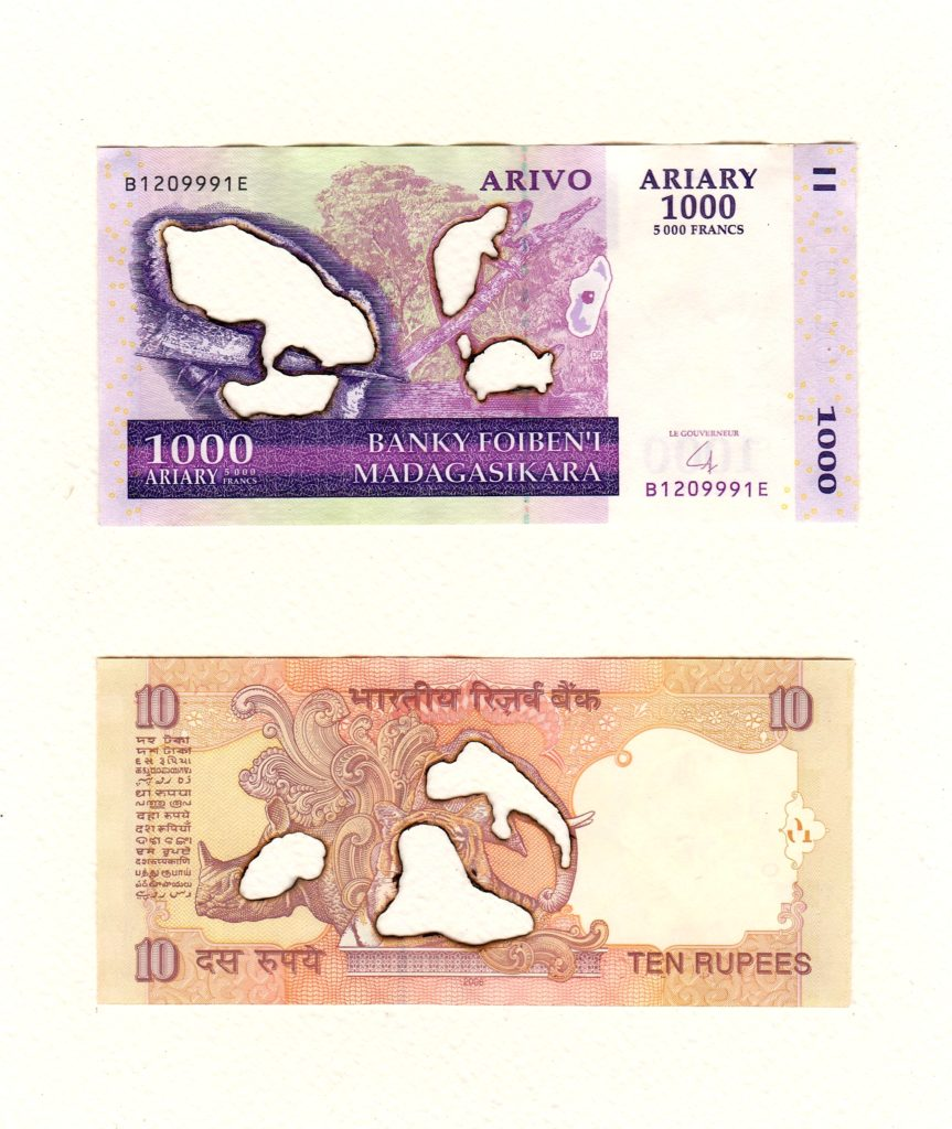 1000 Ariary, Madagascar. 10 Rupees, India, 2019. Burnt bank notes mounted on cartridge paper. 21 x 18 cm.
