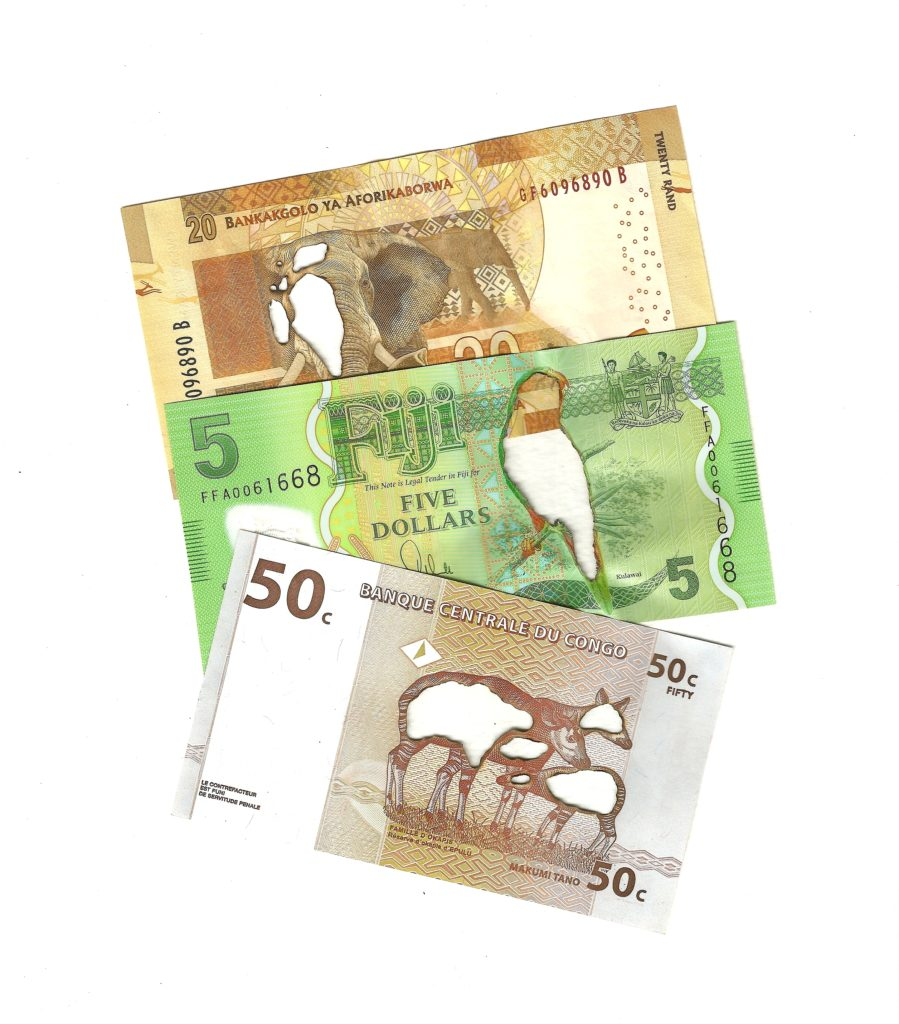 20 South African rand, 5 Fijian dollars, 50 Congoleses francs, 2019. Burnt bank notes mounted on cartridge paper. 25 x 21 cm.
