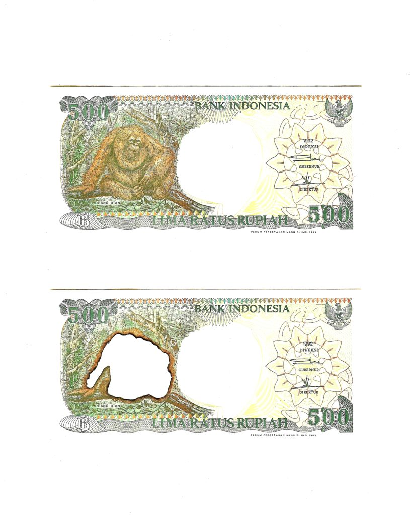 2 x 500 Indonesian rupiah (1992 issue), 2019. Burnt bank notes mounted on cartridge paper. 24 x 19 cm.