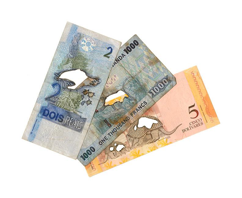 5 Venezuelan bolivares, 1000 Rwandan francs and 2 Brazilian reais, 2019. 60 X 72 cm. Giclee print on cotton rag paper. Limited edition of 25. £250.