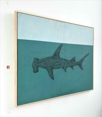 The Great Hammerhead Shark, 2020. Graphite and acrylic on plywood. 70 x 85 x 4 cm.
