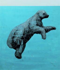 The Polar bear, 2020. Charcoal and acrylic on canvas. 150 x 130 cm.