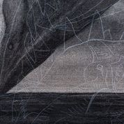 Detail from Breach 2, 2020. Charcoal and chalk on primed canvas. 86 x 72 cm.