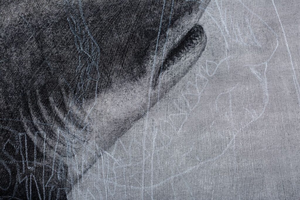 Detail from Breach 3, 2020. Charcoal and chalk on primed canvas. 86 x 72 cm.
