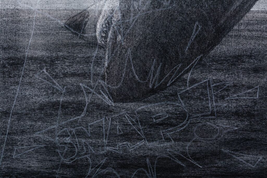Detail from Breach 4, 2020. Charcoal and chalk on primed canvas. 86 x 72 cm.