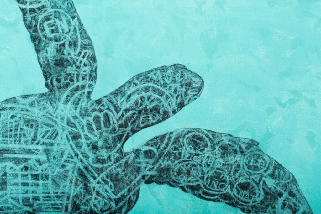 Detail from: The Green Sea Turtle, 2020. Charcoal and acrylic on canvas. 170 x 150 cm.