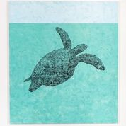 The Green Sea Turtle, 2020. Charcoal and acrylic on canvas. 170 x 150 cm.