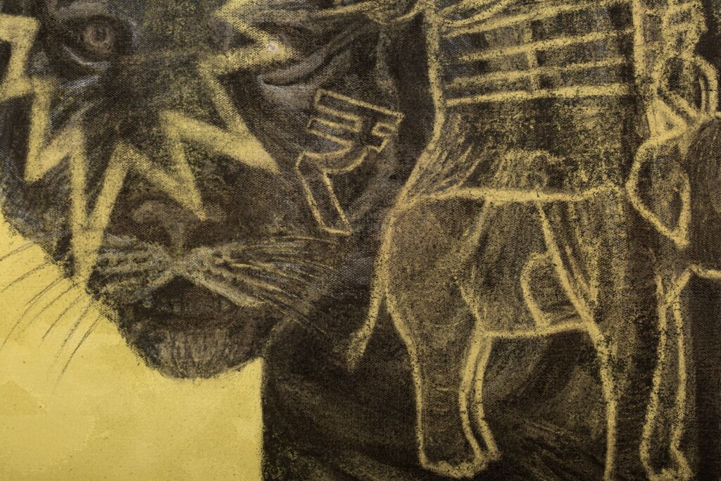 Detail from: The Bengal Tiger, 2020. Charcoal and acrylic on canvas. 150 x 200 cm.