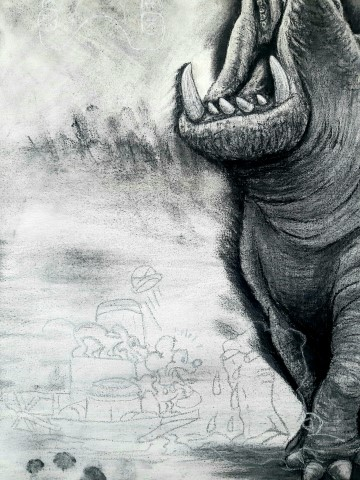Hippopotamus (small), 2021. Charcoal and chalk on primed canvas. 71 x 61 cm. Detail 3