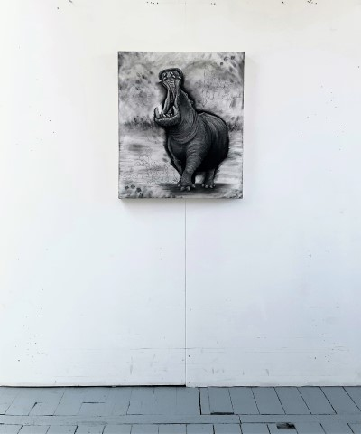 Hippopotamus (small), 2021. Charcoal and chalk on primed canvas. 71 x 61 cm. floor view