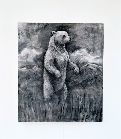 The Grizzly Bear, 2021. Charcoal and chalk on canvas. 71 x 61 cm. Full view