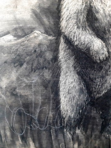 The Grizzly Bear, 2021. Charcoal and chalk on canvas. 71 x 61 cm. detail 2