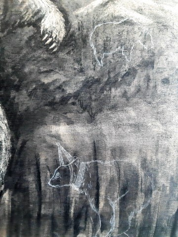 The Grizzly Bear, 2021. Charcoal and chalk on canvas. 71 x 61 cm. detail 3