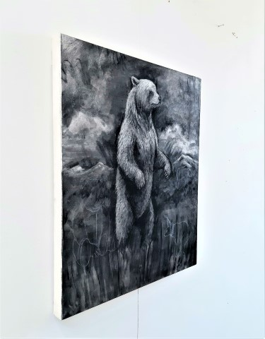 The Grizzly Bear, 2021. Charcoal and chalk on canvas. 71 x 61 cm. side view