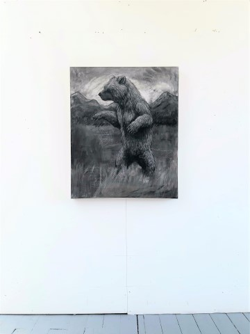 The Grizzly Bear, 2021. Charcoal and chalk on canvas. 87 x 72 cm. Floor view