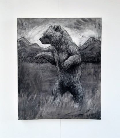 The Grizzly Bear, 2021. Charcoal and chalk on canvas. 87 x 72 cm. Front view