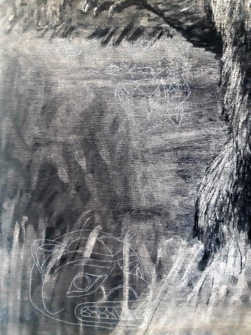 The Grizzly Bear, 2021. Charcoal and chalk on canvas. 87 x 72 cm. detail 2