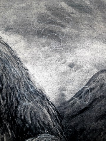 The Grizzly Bear, 2021. Charcoal and chalk on canvas. 87 x 72 cm. detail 4