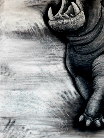 The Hippopotamus, 2021. Charcoal and chalk on primed canvas. 160 x 140 cm. Detail 2