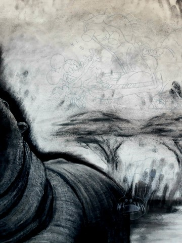The Hippopotamus, 2021. Charcoal and chalk on primed canvas. 160 x 140 cm. Detail 3