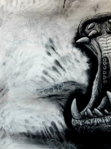 The Hippopotamus, 2021. Charcoal and chalk on primed canvas. 160 x 140 cm. Detail 4