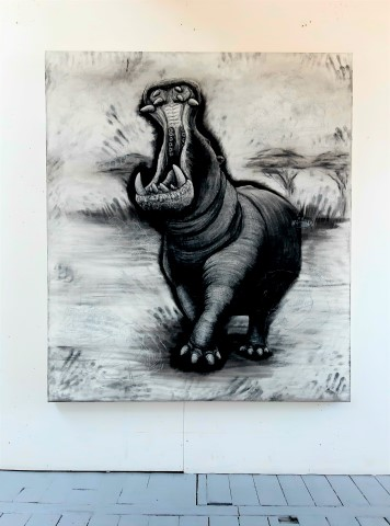 The Hippopotamus, 2021. Charcoal and chalk on primed canvas. 160 x 140 cm. Floor view