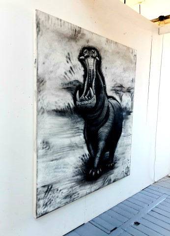 The Hippopotamus, 2021. Charcoal and chalk on primed canvas. 160 x 140 cm. Side view.