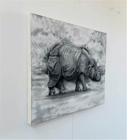 The Indian Rhinoceros, 2021. Charcoal and chalk on primed canvas. 61 x 71 cm. Side view