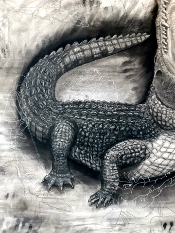 The Nile Crocodile, 2021. Charcoal and chalk on primed canvas. 160 x 140 cm. Detail 1