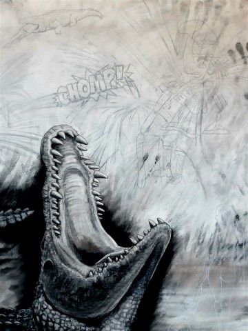 The Nile Crocodile, 2021. Charcoal and chalk on primed canvas. 160 x 140 cm. Detail 4