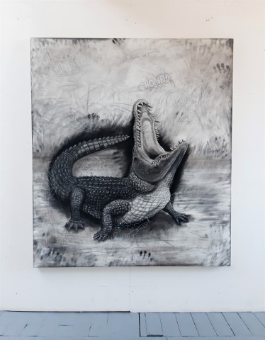 The Nile Crocodile, 2021. Charcoal and chalk on primed canvas. 160 x 140 cm. Floor view