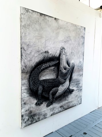 The Nile Crocodile, 2021. Charcoal and chalk on primed canvas. 160 x 140 cm. side view