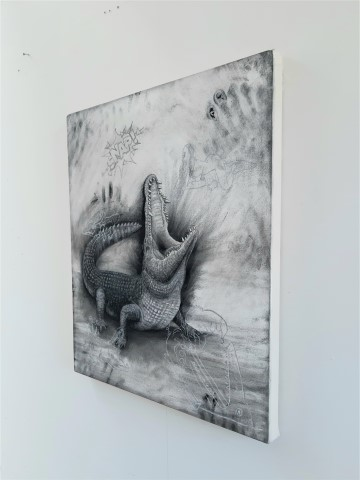 The Nile Crocodile (small), 2021. Charcoal and chalk on primed canvas. 71 x 61 cm. Side view