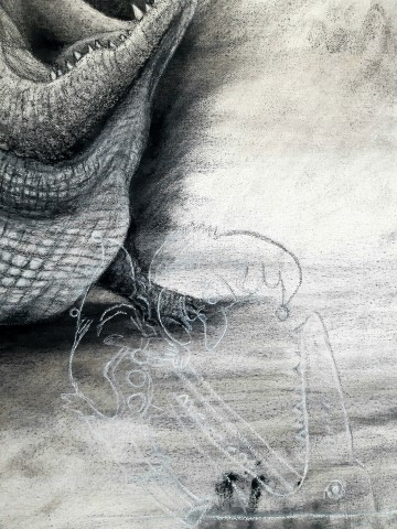 The Nile Crocodile (small), 2021. Charcoal and chalk on primed canvas. 71 x 61 cm. detail 1