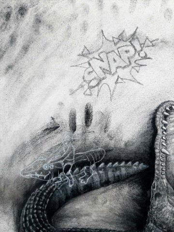 The Nile Crocodile (small), 2021. Charcoal and chalk on primed canvas. 71 x 61 cm. detail 3