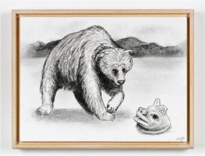 Bear with Tlingit mask, 2021. Charcoal on cartridge paper. Framed in varnished obeche. 30 x 40 x 4 cm.