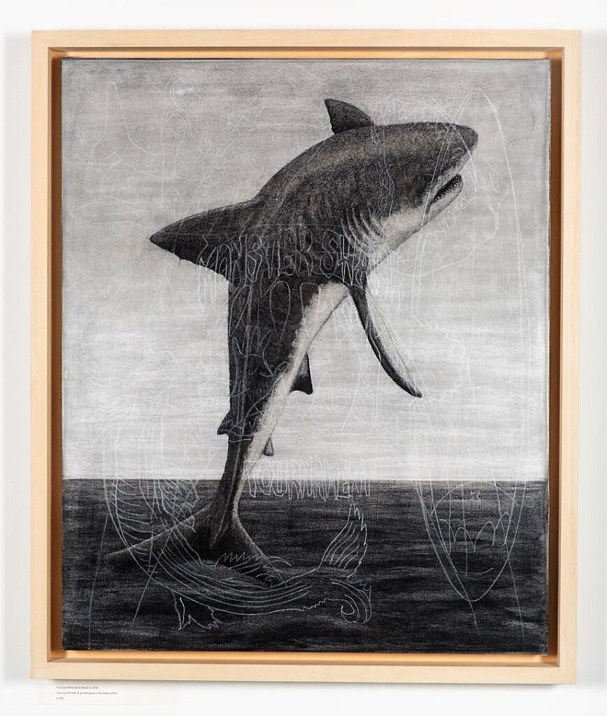 Breach 3, 2020. Charcoal and chalk on primed canvas. Framed in lime waxed tulip. 86 x 72 x 6 cm.