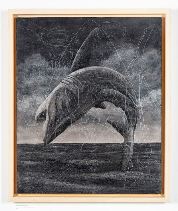 Breach 2, 2020. Charcoal and chalk on primed canvas. Framed in lime waxed tulip. 86 x 72 x 6 cm.