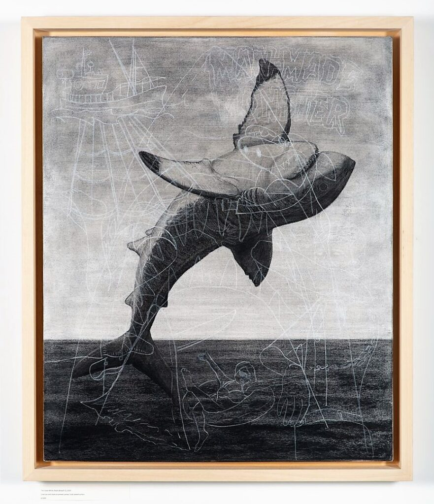Breach 1, 2020. Charcoal and chalk on primed canvas. Framed in lime waxed tulip. 86 x 72 x 6 cm.