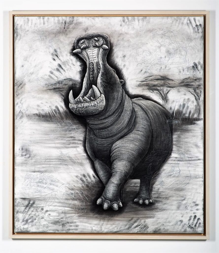 The Hippopotamus, 2021. Charcoal and chalk on canvas. Fully sealed surface and framed in lime waxed tulip. 160 x 140 x 6 cm.