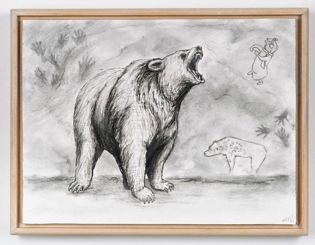 Cave Bear, 2021. Charcoal on cartridge paper. 30 x 40 x 4 cm.