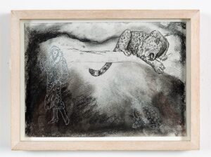 Leopard study, 2021. Charcoal and conte on cartridge paper. Framed in lime waxed ash. 24 x 32 x 3.5 cm.