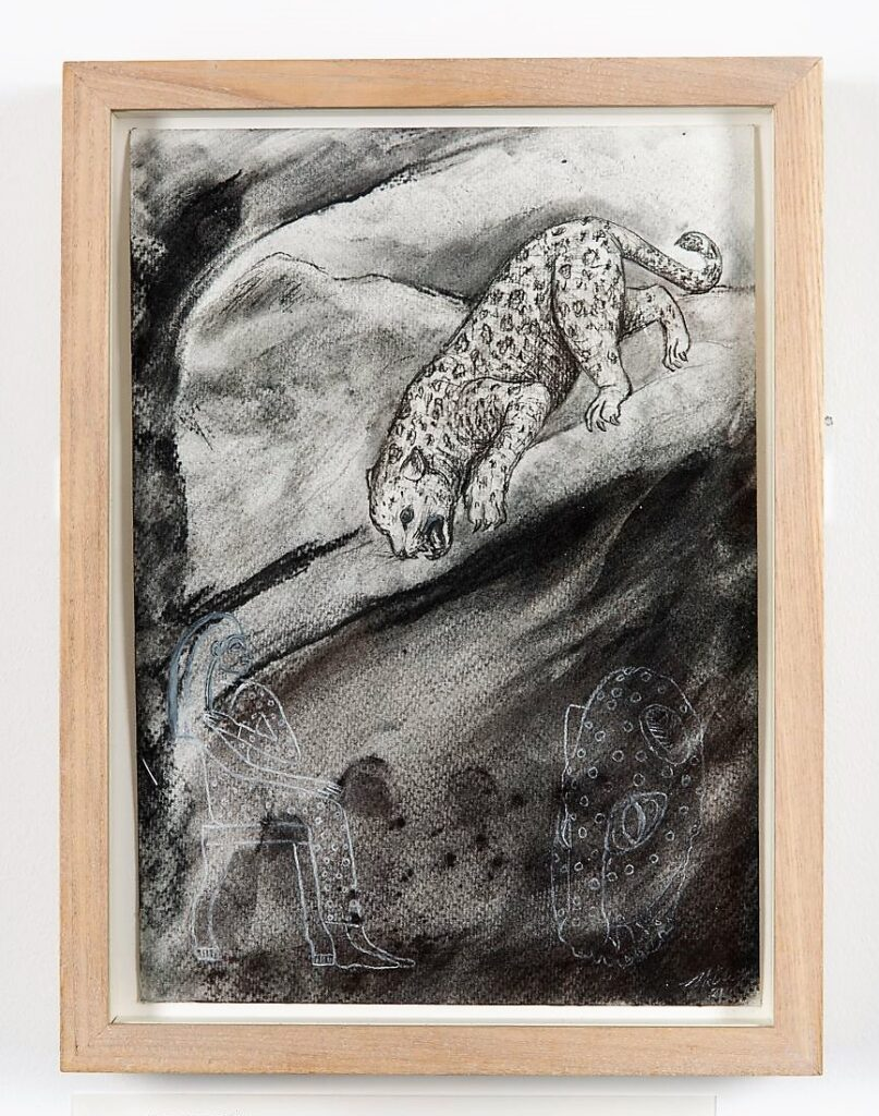 Leopard study, 2021. Charcoal and chalk on cartridge paper. Framed in Lime waxed ash. 32 x 24 x 3.5 cm.