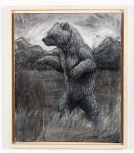 The Grizzly Bear, 2021. Charcoal and chalk on canvas. 87 x 72 x 6 cm.