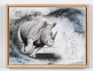 The Black Rhinoceros, 2021. Charcoal and gesso on cartridge paper. Framed in varnished obeche. 30 x 40 x 4 cm.