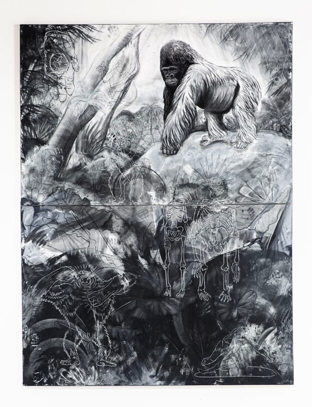 The Gorilla, 2021. Charcoal, chalk, gesso and matt emulsion on canvas. 4 x 3 metres.