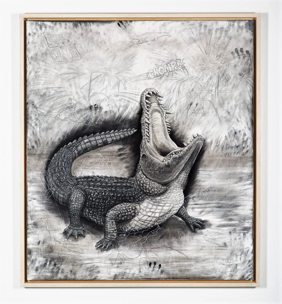 The Nile Crocodile, 2021. Charcoal and chalk on primed canvas. 160 x 140 cm.